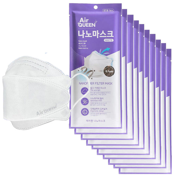 [10 Pack] Air-Queen Nano-Mask | White | Nanofiber Filter | Ultra Thin | 3-Layer Face Mask for Adults | Individually Packed