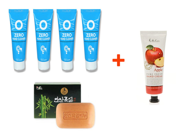 [ Holiday Gift Set ] Bamboo Salt Soap 100g + 4 Pack Dermahart Zero Antibacterial Hand Sanitizer Gel 100ml + 1 pcs KUC Pure Fresh Hand Cream Lotion