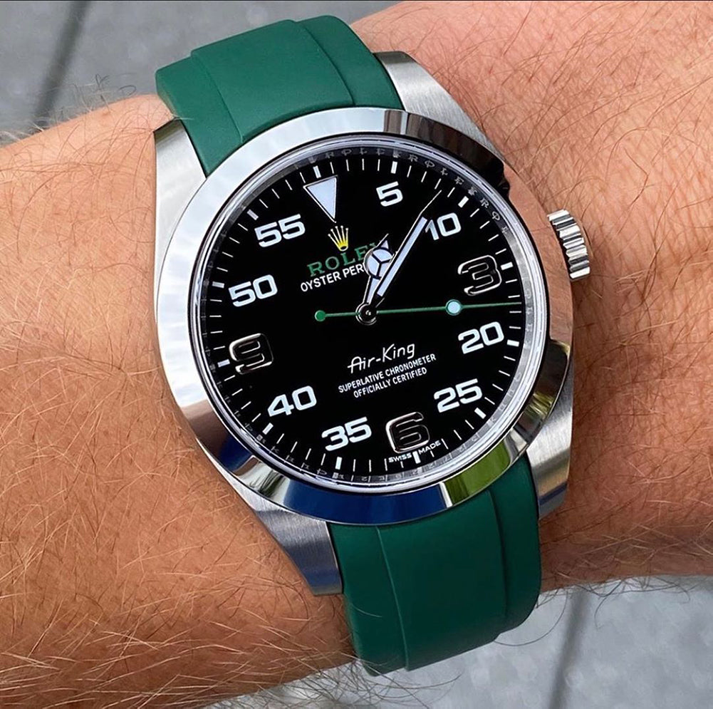 rolex air-king on rubber watch band