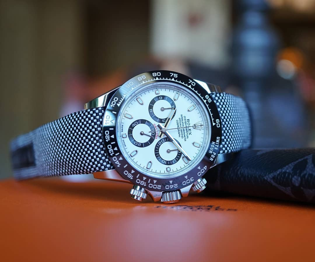 rolex daytona on curved end nylon strap from everest bands