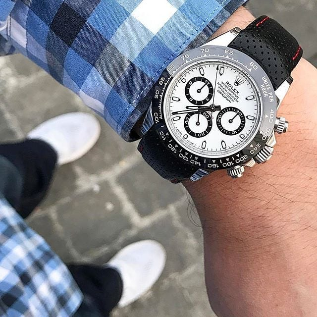 rolex daytona on a perforated leather racing strap