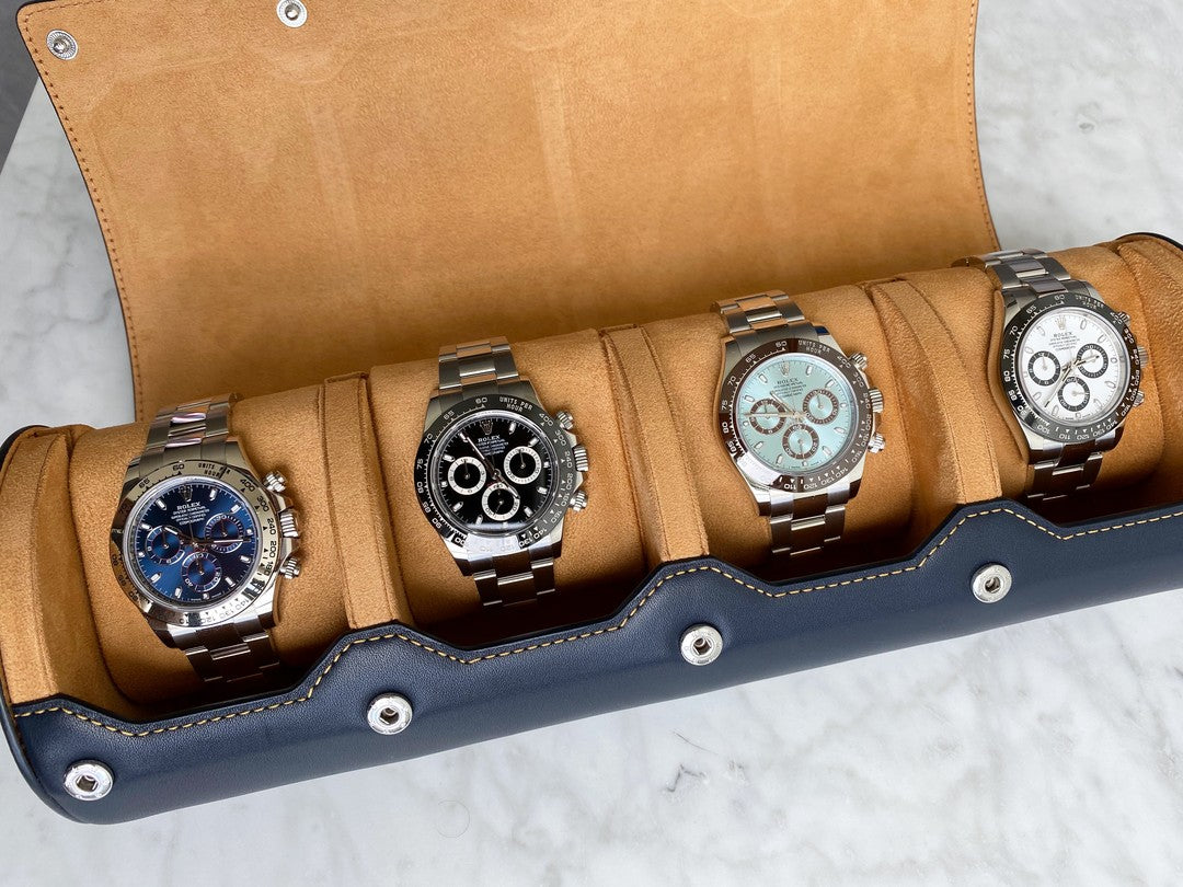 everest leather watch roll for 4 watches in navy blue with rolex watches inside