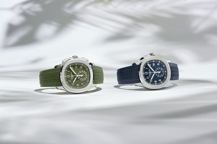 two patek watches on rubber straps