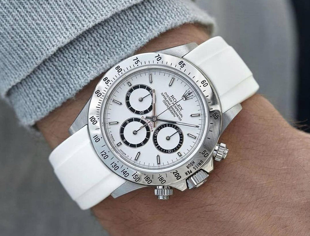 white rubber watch band on rolex