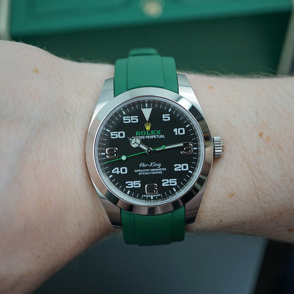 rolex airking on green rubber everest band