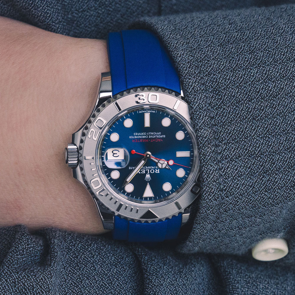 Rolex Yacht-master with blue rubber watch strap