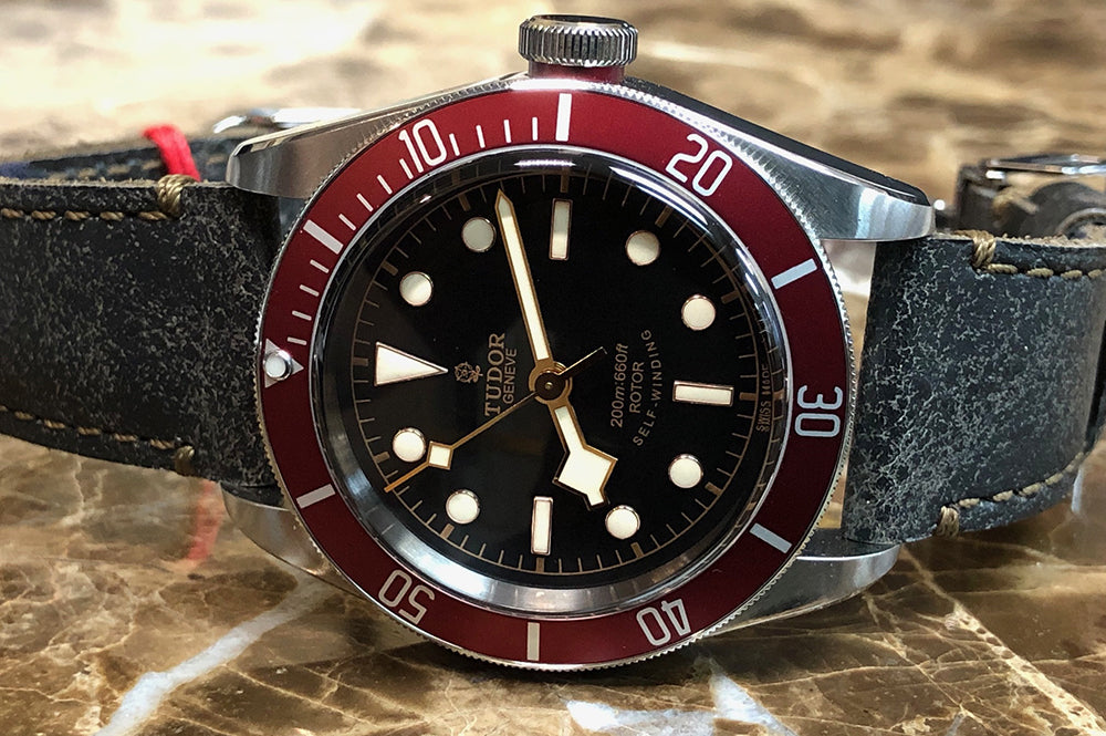 tudor heritage black bay on leather watch strap