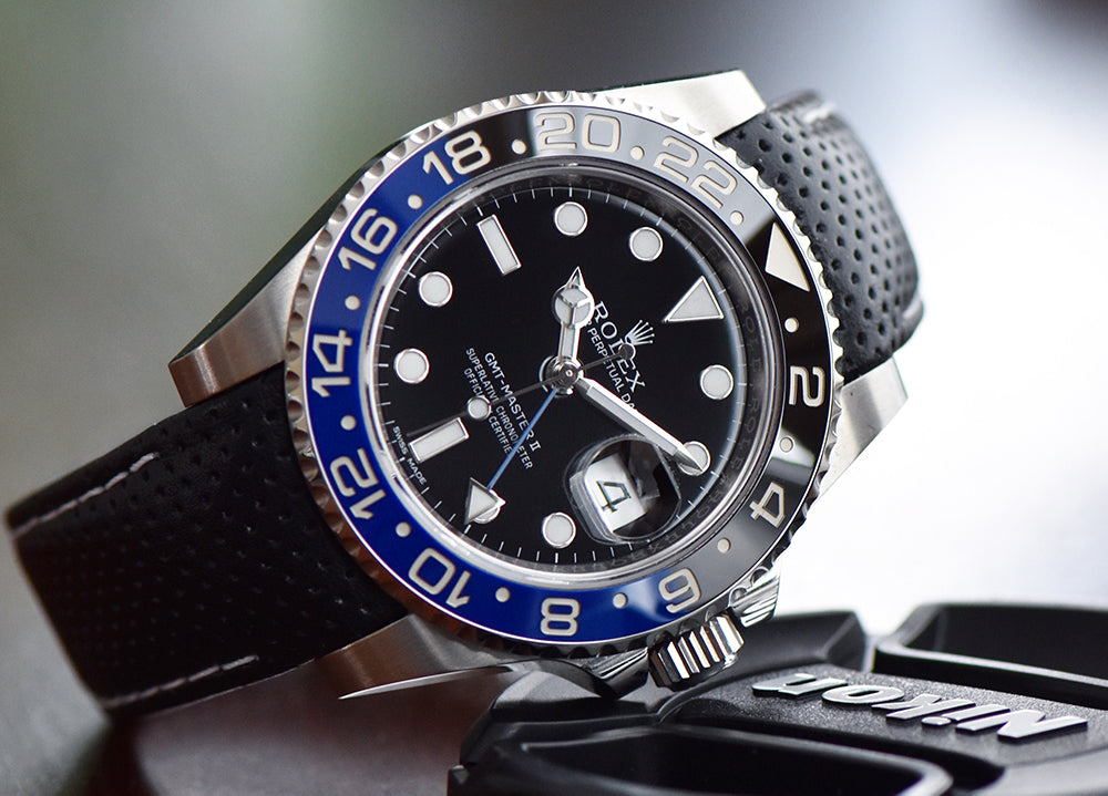 rolex gmt on racing leather watch band