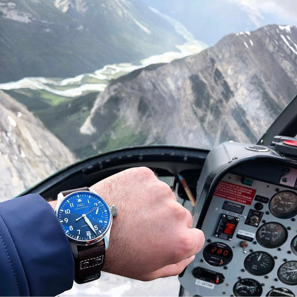 wrist shot of an IWC big pilot in a helicopter