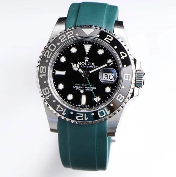 Rolex GMT Master 2 rubber watch strap green band
