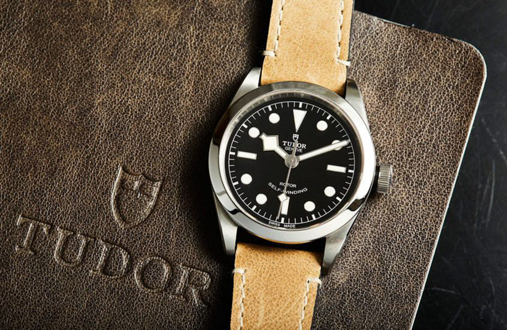tudor  black bay 32 on leather strap