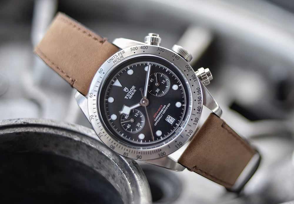 tudor black bay chronograph on leather watch strap