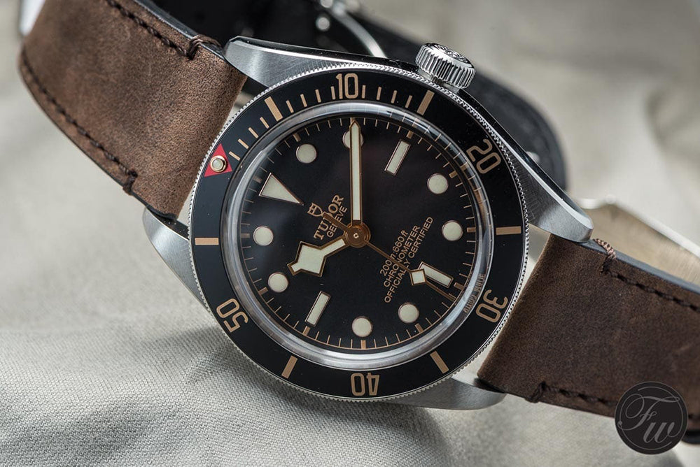 tudor black bay 58 on leather watch strap