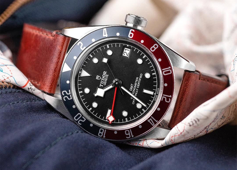 tudor black bay gmt on leather strap