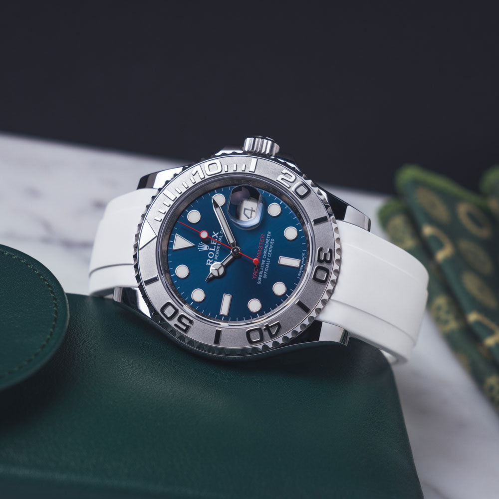 Rolex Yacht-master on rubber watchband in white