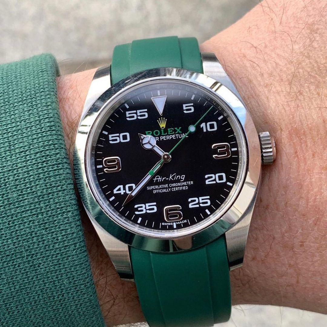 rolex airking on green rubber band