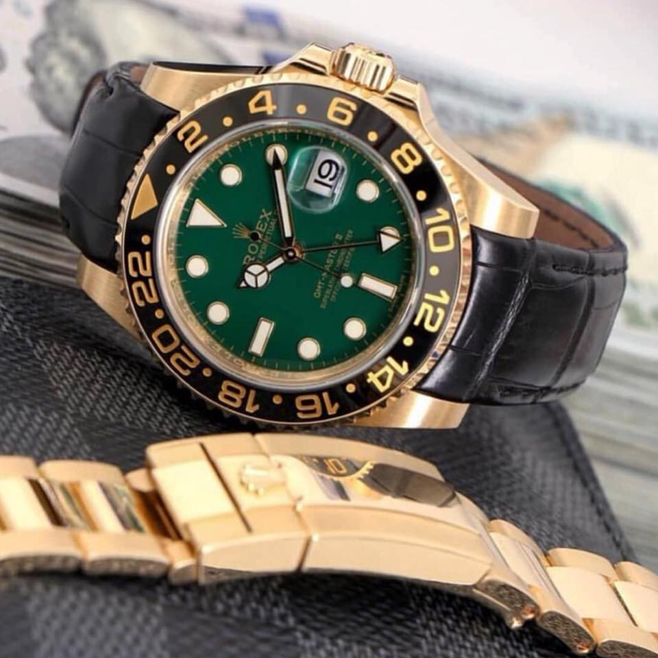 rolex gmt master on curved end alligator leather strap from everest