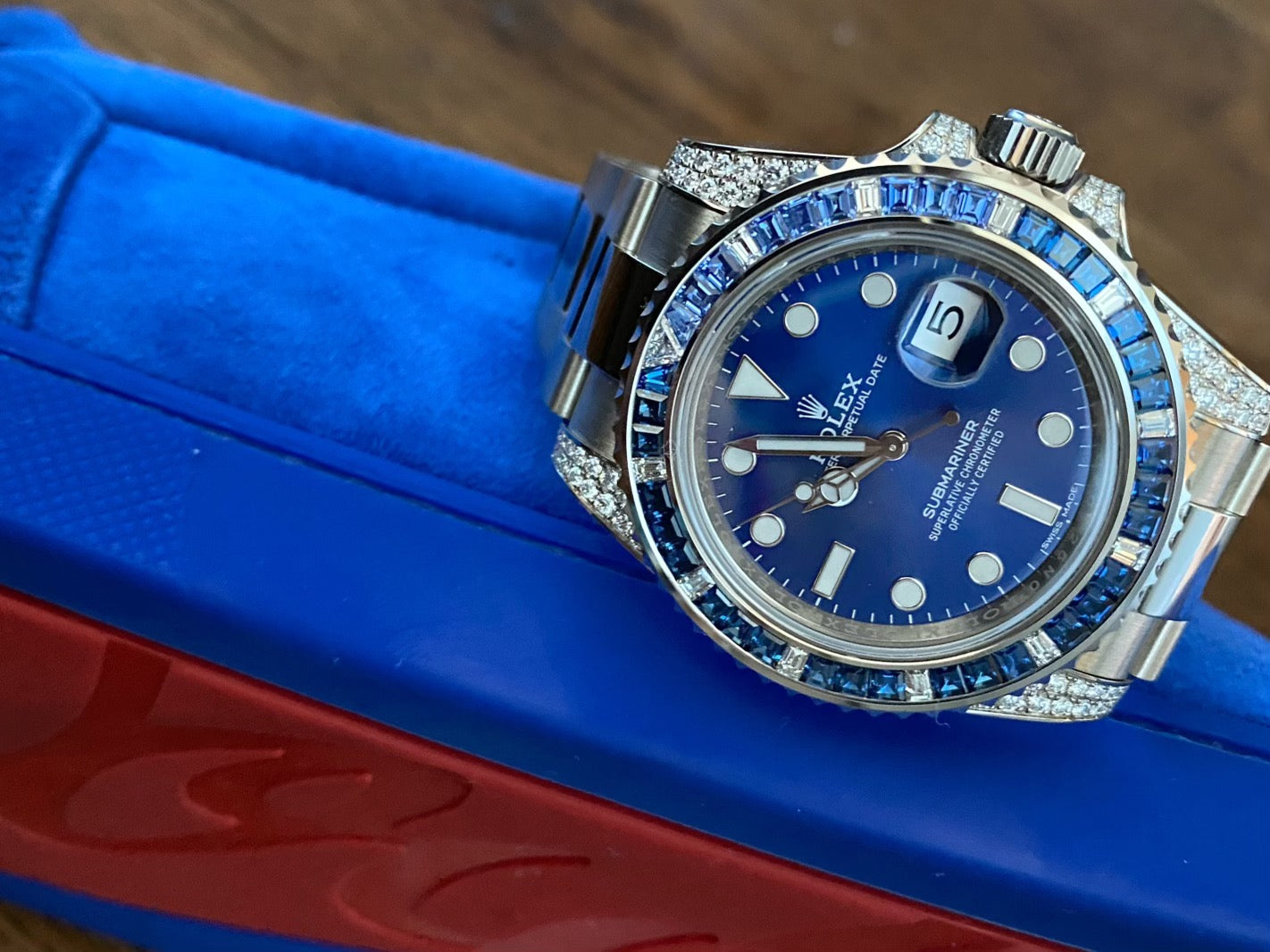 blue rolex 116659sabr and blue louboutin sneakers