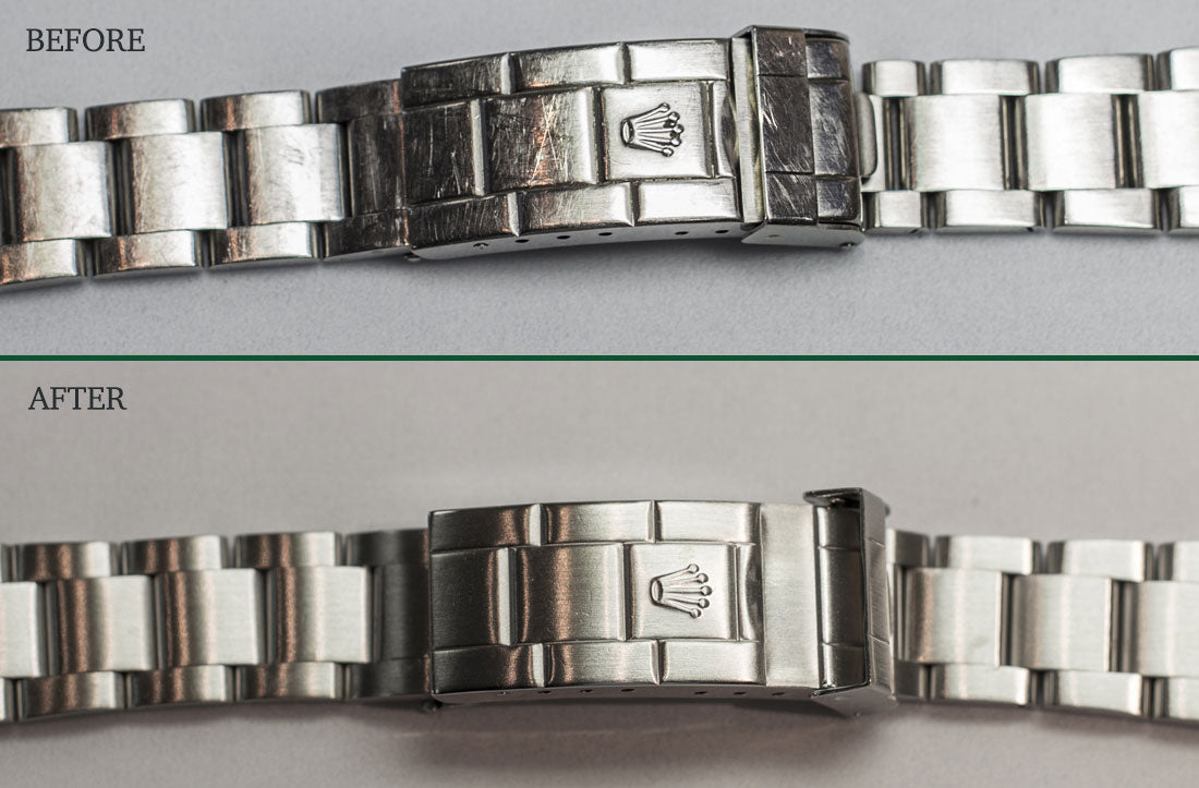 Before and After Rolex bracelet polishing