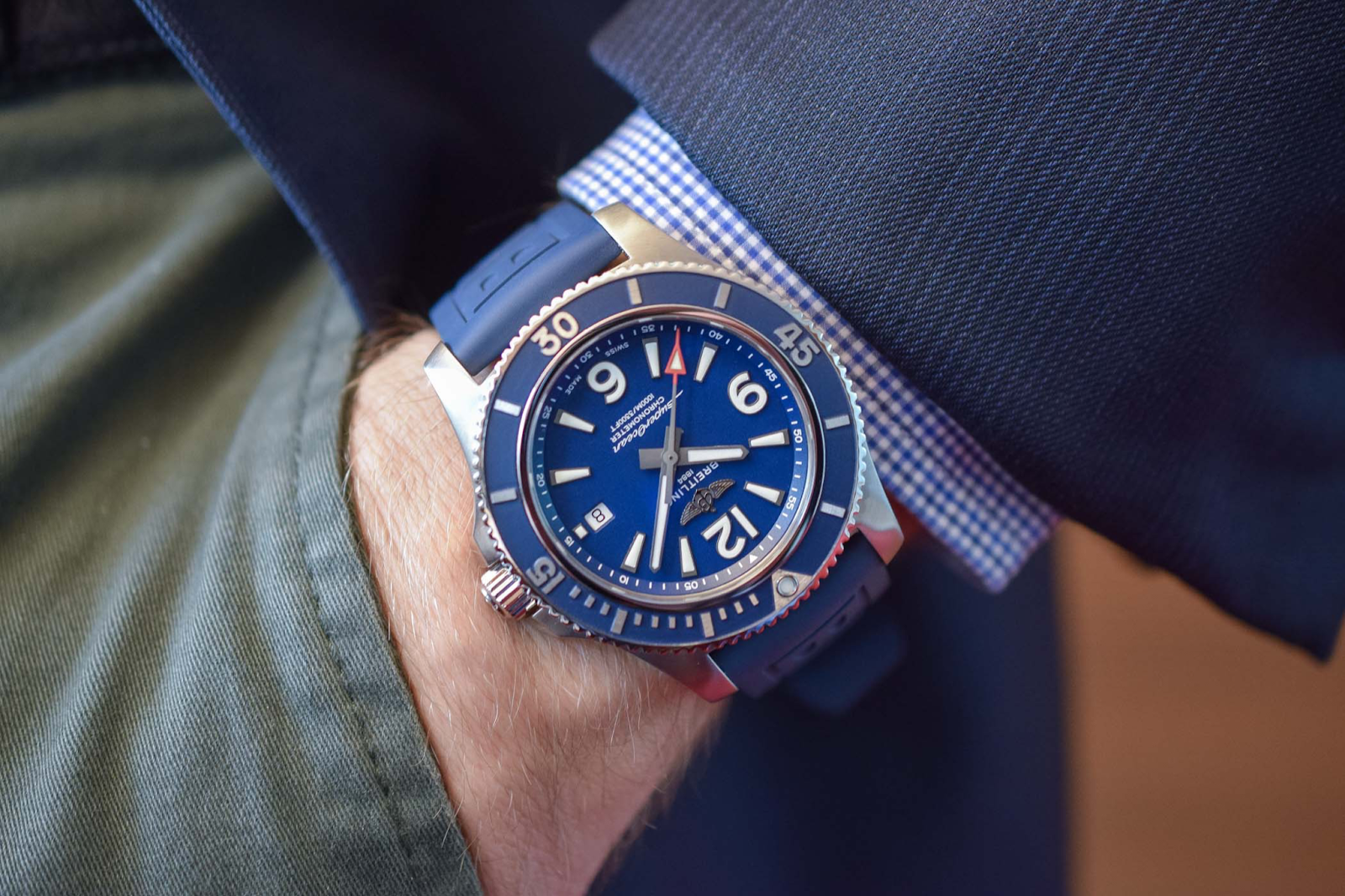 Breitling superocean watch with blue dial