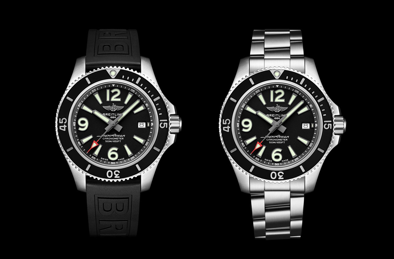 2 breitling watches one with rubber bracelet and one with steel