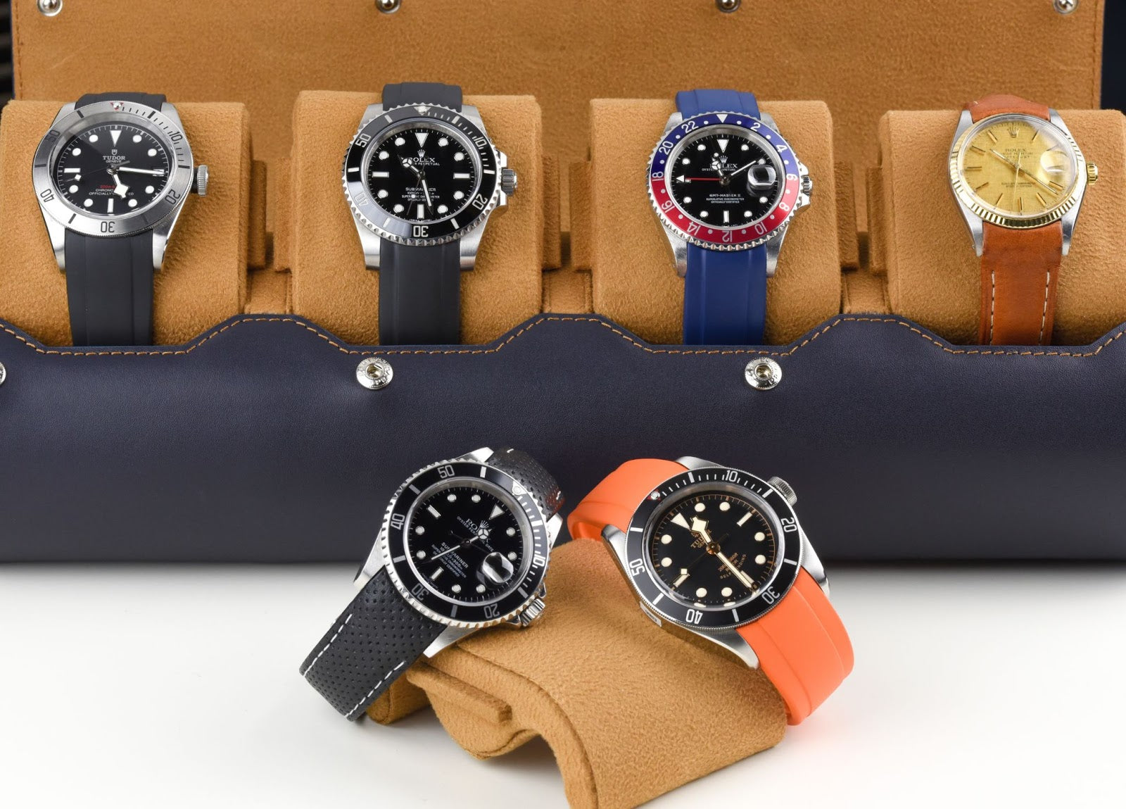 everest watch roll full of rolex watches on rubber straps
