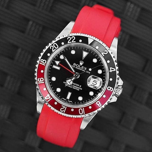 rolex gmt master II coke on red rubber strap