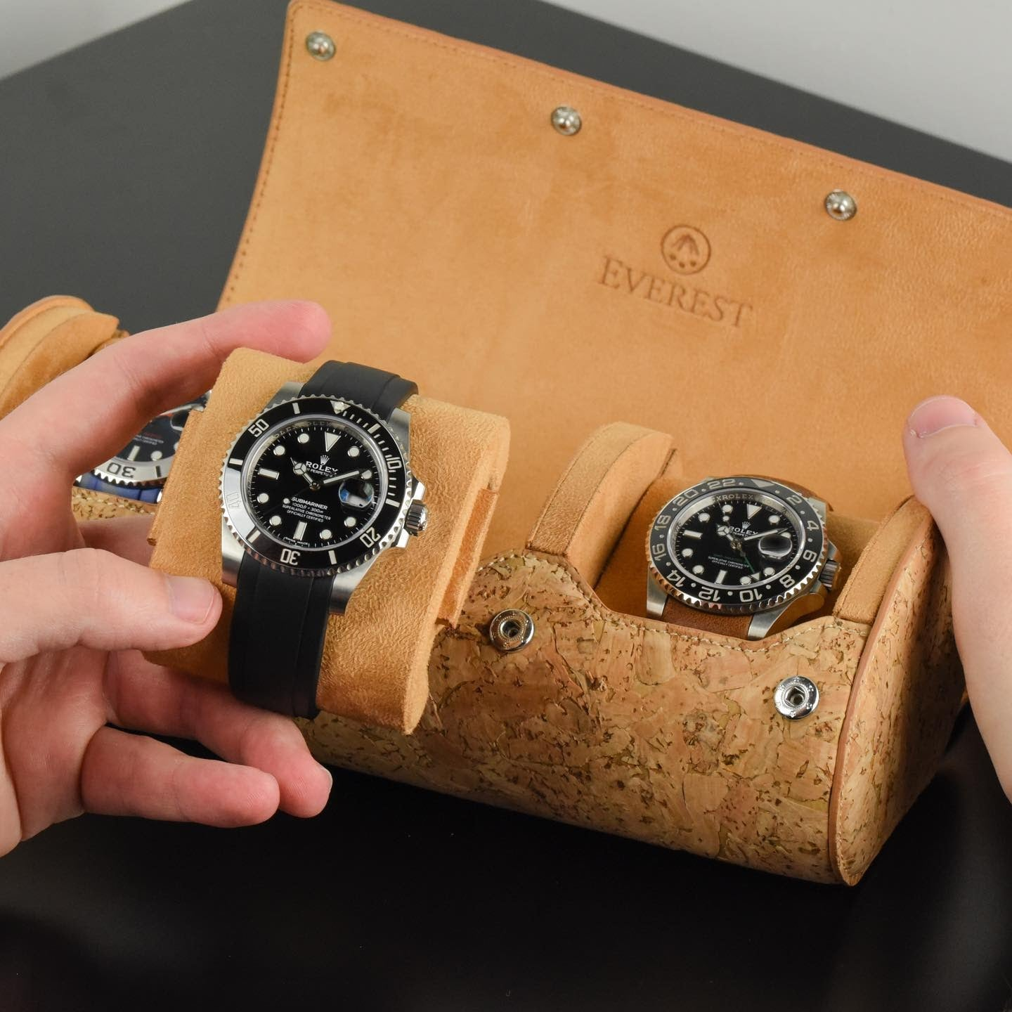 cork watch roll with sliding rail system from everest