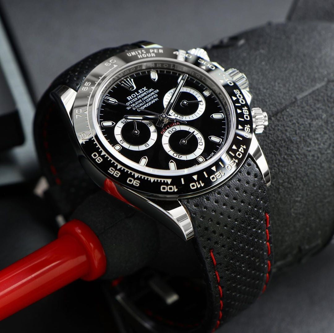 curved end leather racing strap for rolex daytona