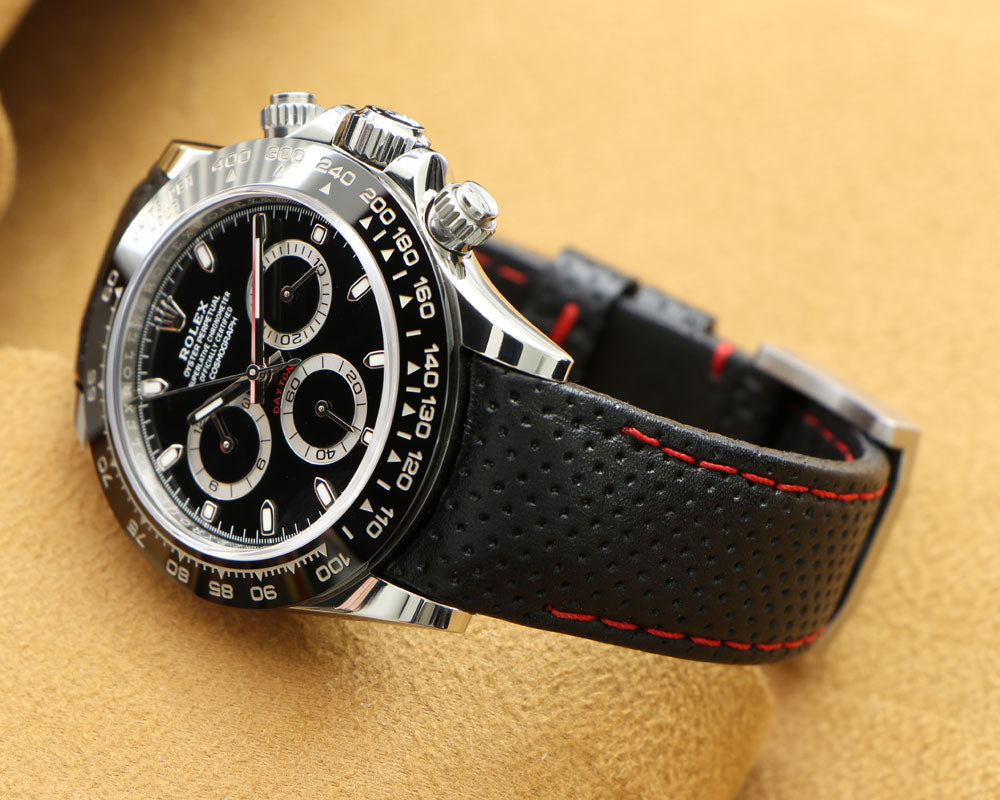 Daytona on leather watch band racing style