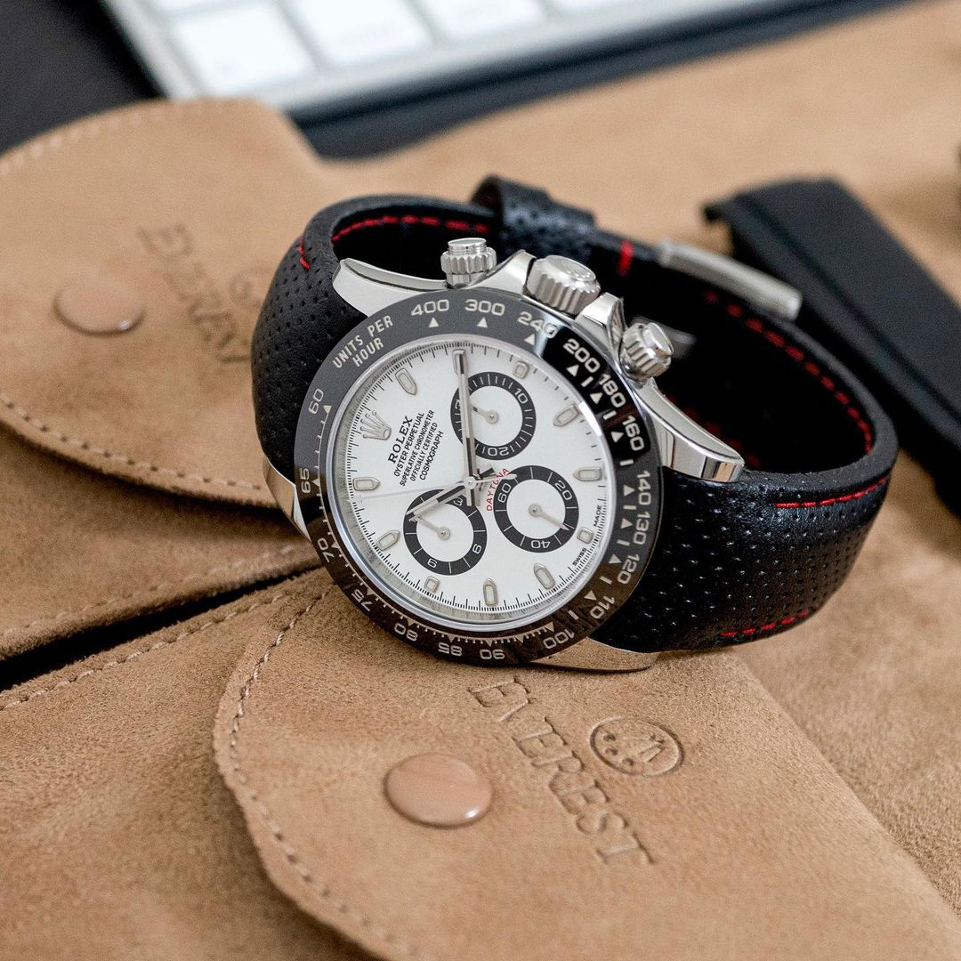 rolex daytona on perforated leather racing strap