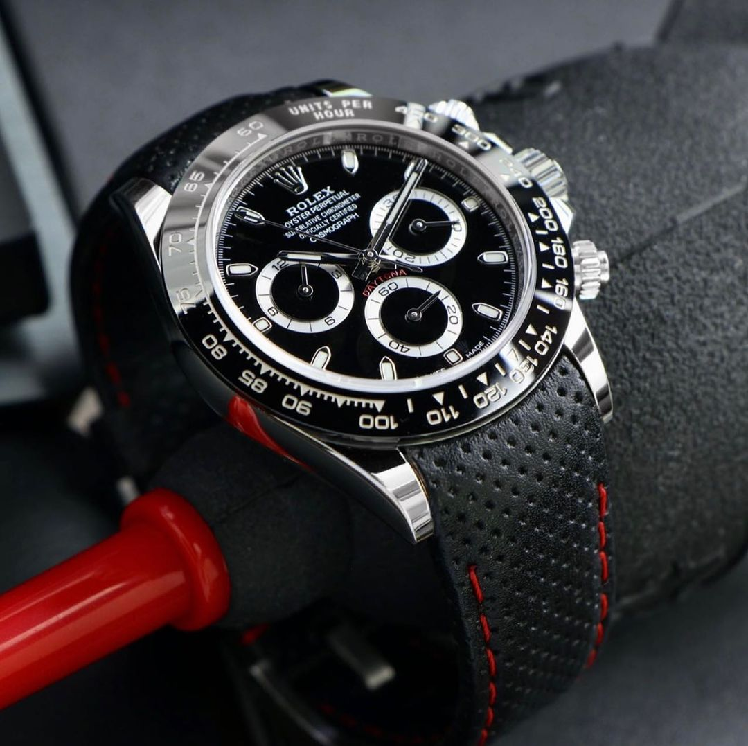 rolex daytona on curved end perforated leather racing strap from everest