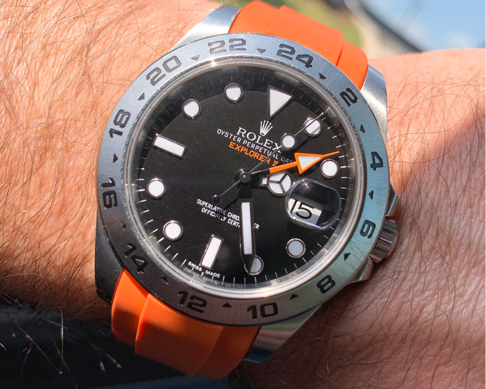 orange rubber strap on rolex explorer II 42