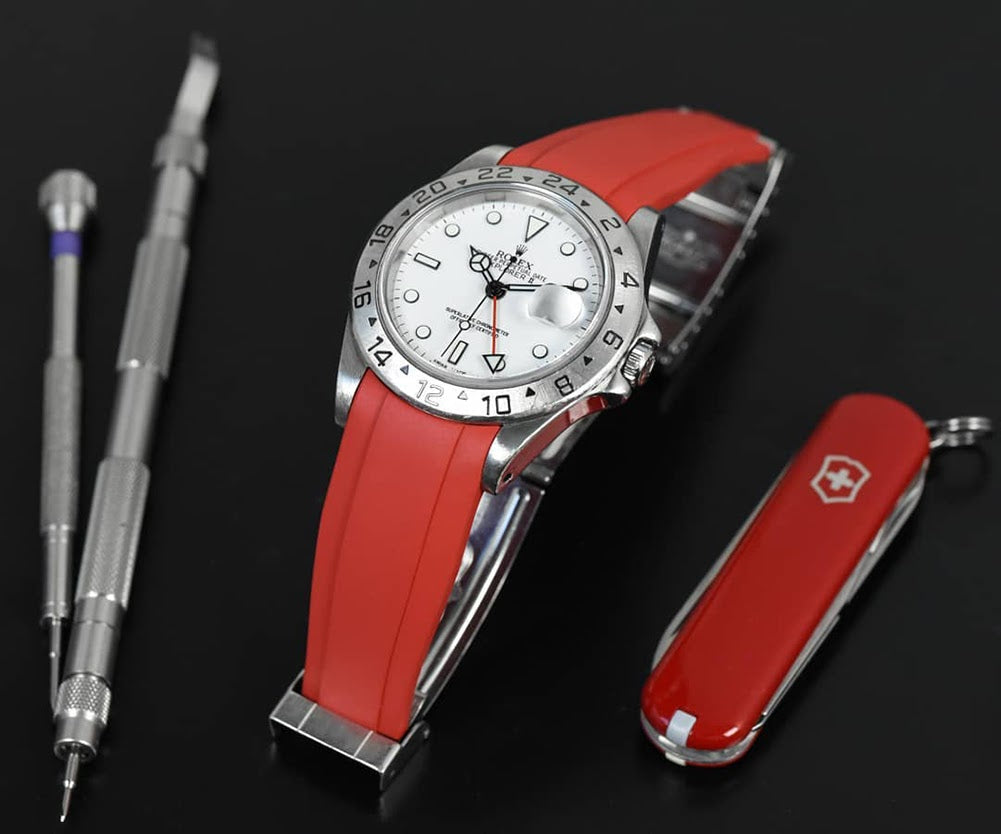 rolex explorer on red rubber strap