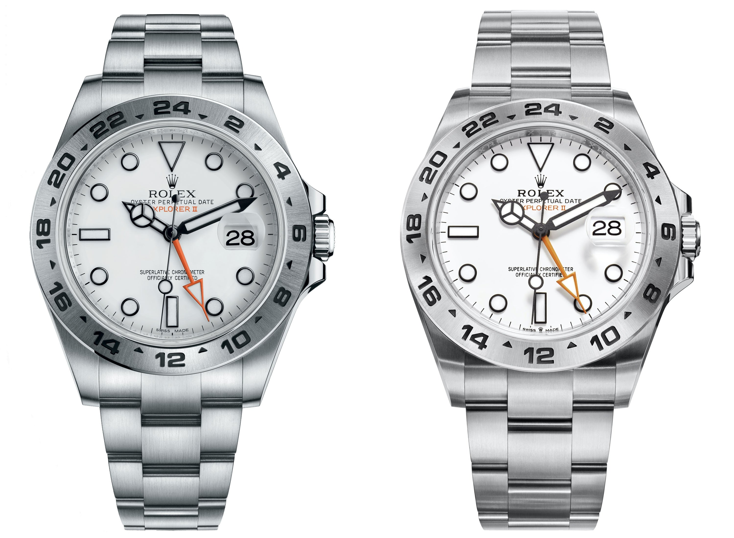 rolex explorers 216570 and 226570 side by side