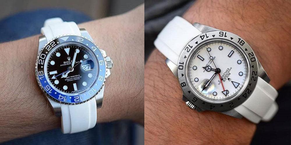 white rubber strap on Rolex GMT master and Explorer