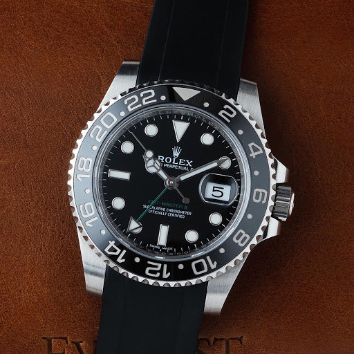 rolex gmt master on black rubber everest band