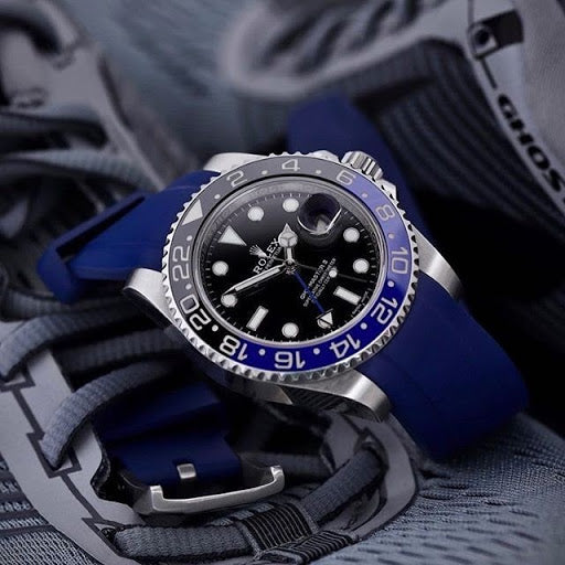 blue rubber strap on rolex blnr