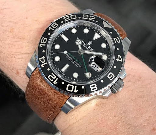gmt master on leather strap