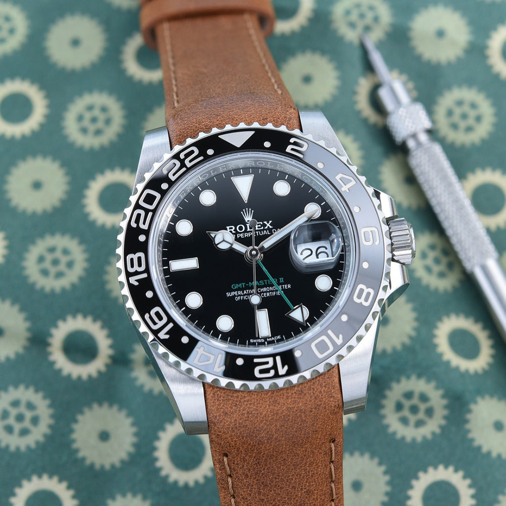 rolex gmt master on tan leather watch band