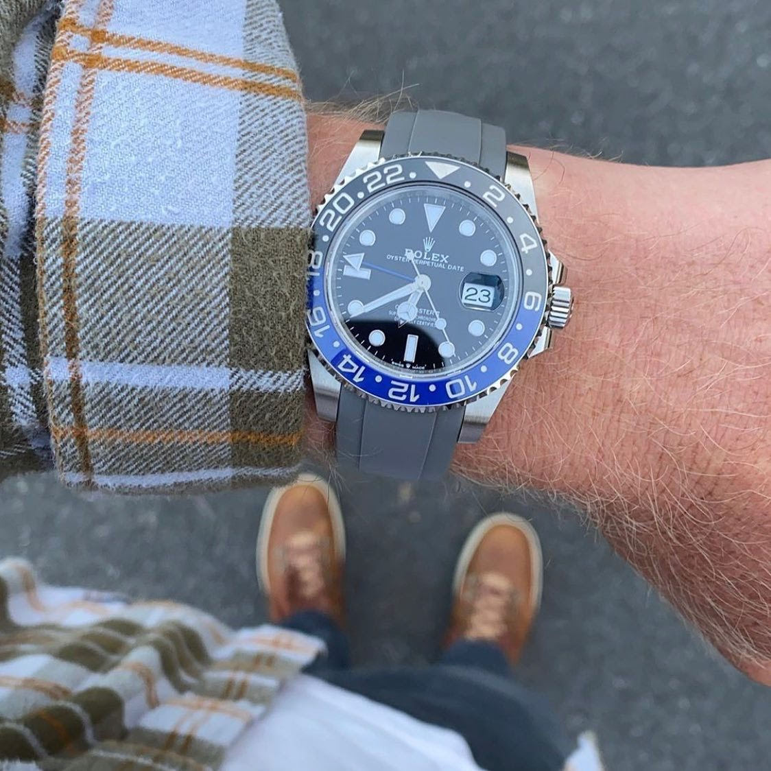 gray rubber strap on rolex gmt