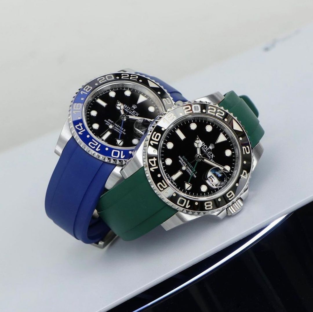 green and blue rubber everest straps on rolex gmt master II