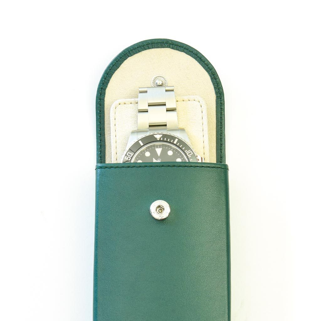 everest green leather watch pouch