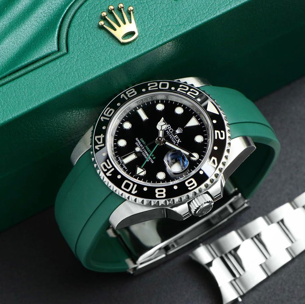 green rubber everest band on Rolex GMT Master II