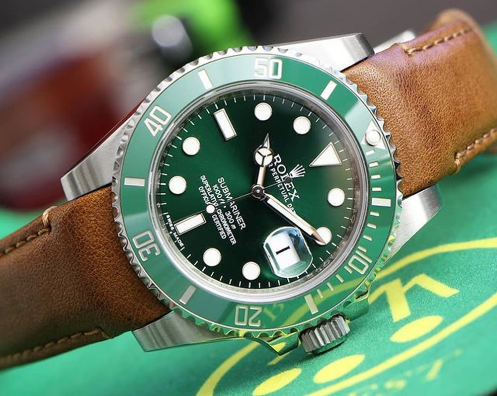rolex hulk on curved end leather strap