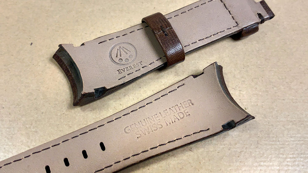 Everest leather strap Swiss made label