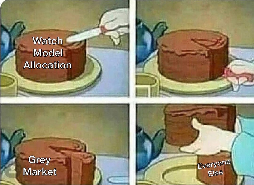 watch meme comparing chocolate cake to rolex scarcity