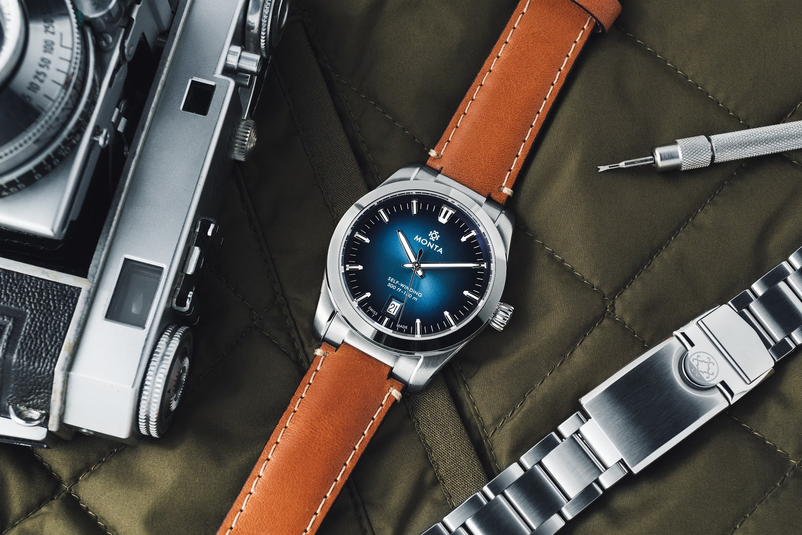 MONTA noble watch with blue dial on leather strap