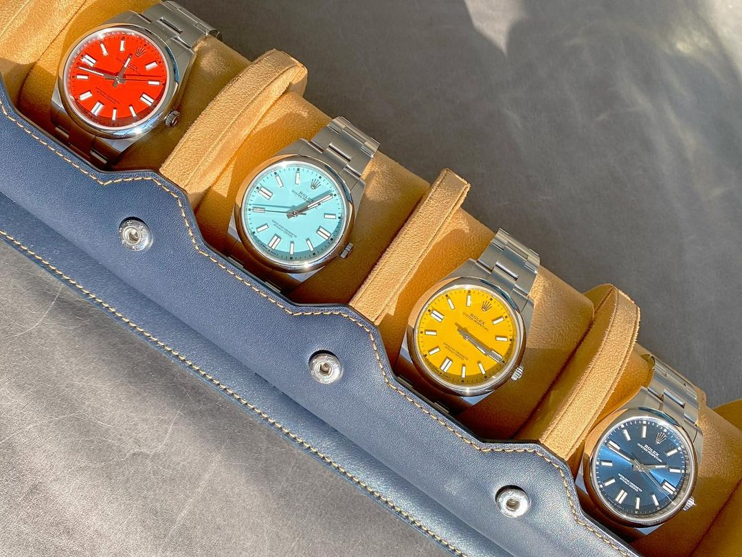 rolex op41 collection in leather watch roll