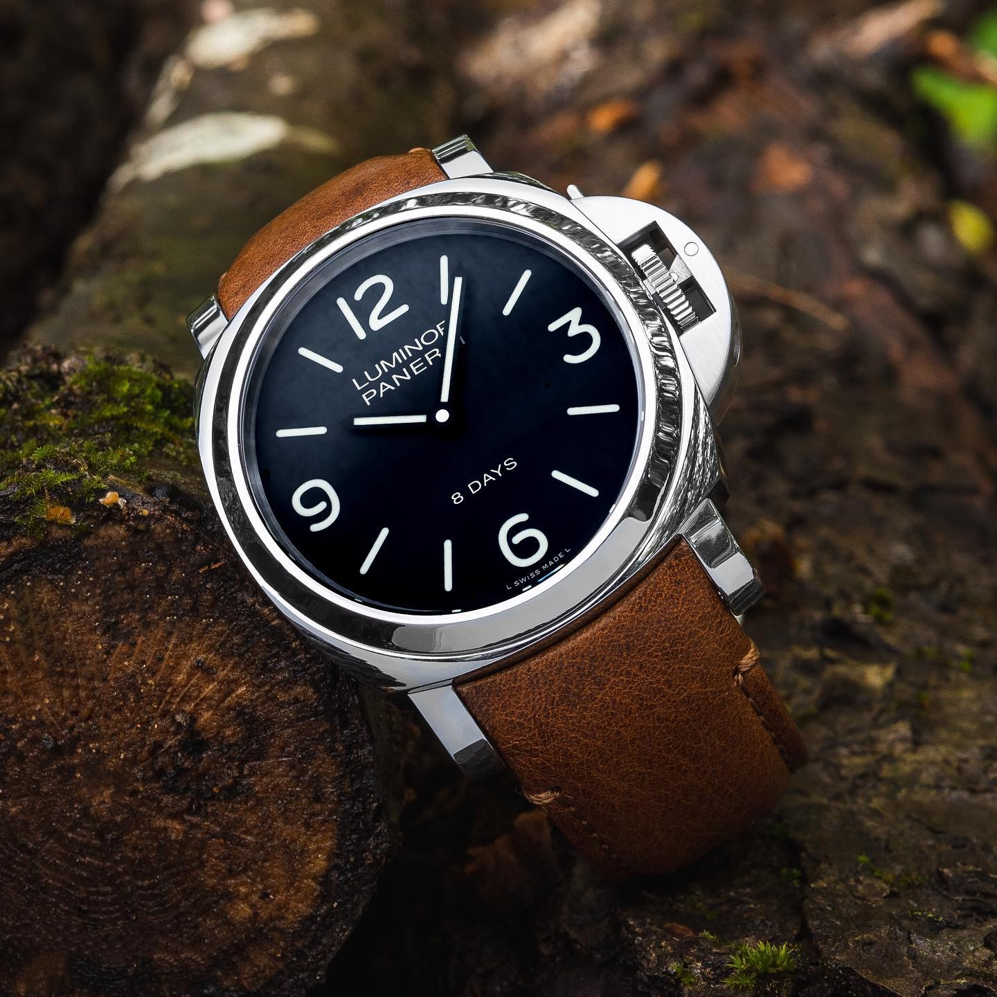panerai on curved end tan leather strap